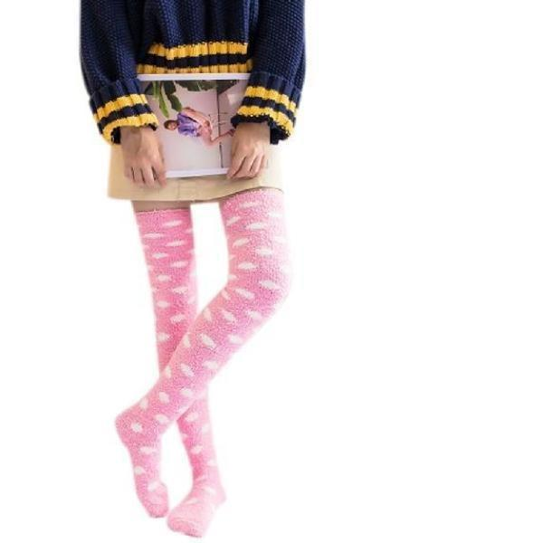 Fuzzy Soft Furry Thigh High Stockings Pink Clouds Soft Socks Over The Knee Kawaii Soft