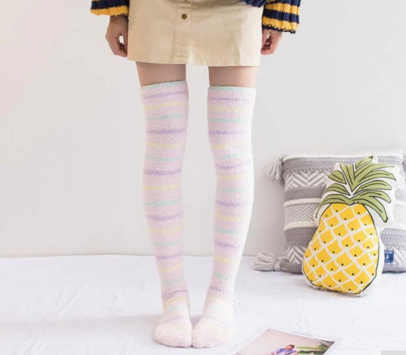 Fuzzy Soft Furry Thigh High Stockings Soft Socks Over The Knee Kawaii