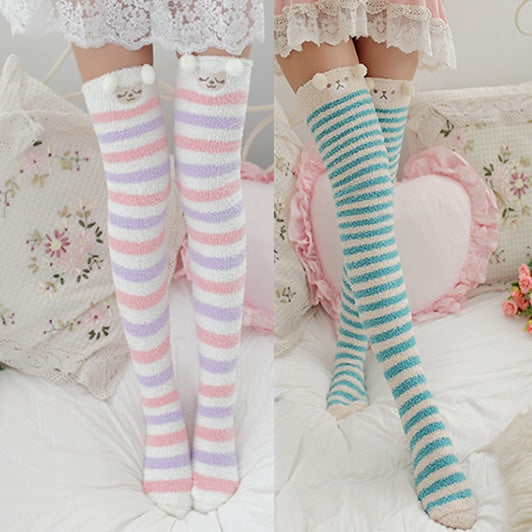 Kawaii Plush Socks Thigh Highs Tall Leg Warmers Fuzzy Warm DDLG Little Space Age Regression CGL  by kawaii babe
