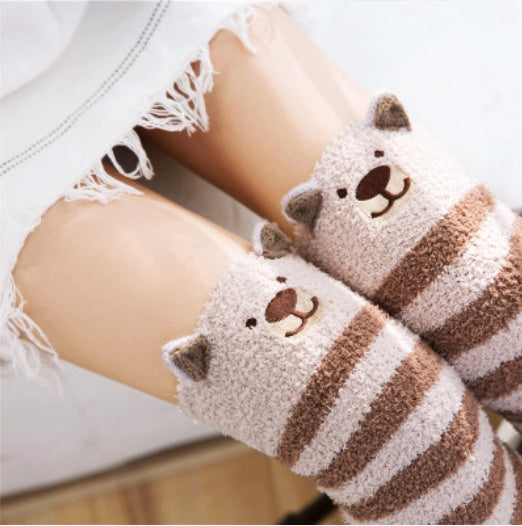 Fuzzy Thigh Highs (15+ Styles) - Brown Bear - Socks
