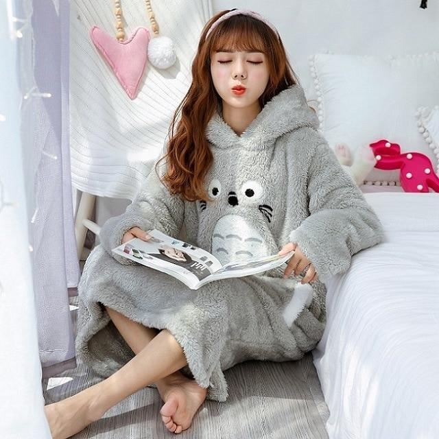 Fuzzy Totoro Nightgown - Totoro Grey Hooded / M - pajamas
