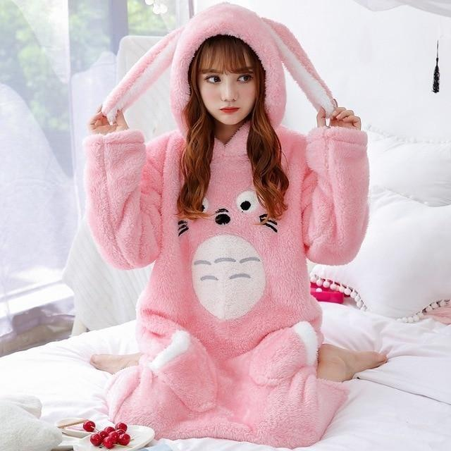 Fuzzy Totoro Nightgown - Totoro Pink Hooded / M - pajamas