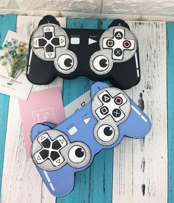 Blue Playstation Controller 3D Handbag Glitter Purse Kawaii Bag
