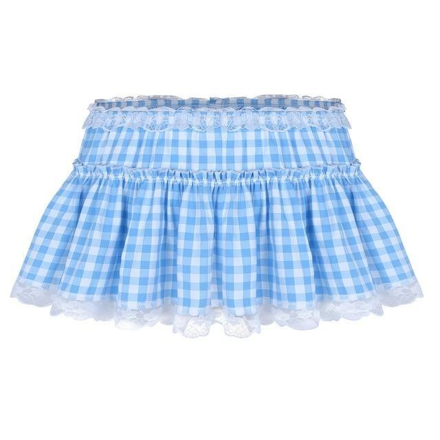 Gingham Micro Skirt - Light Blue / XS - skirt