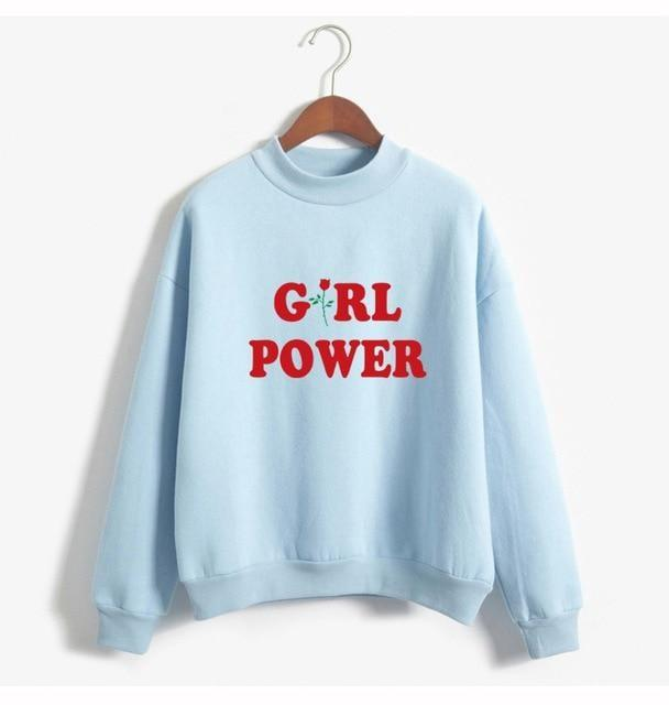 Blue Girl Power Crewneck Sweater Sweatshirt Red Rose Pullover Long Sleeve Feminism Feminist