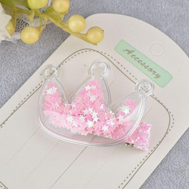 Glitter Confetti Clippies - Crown Pink - hair clips