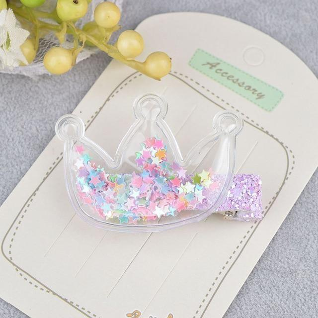 Glitter Confetti Clippies - Crown Rainbow - hair clips