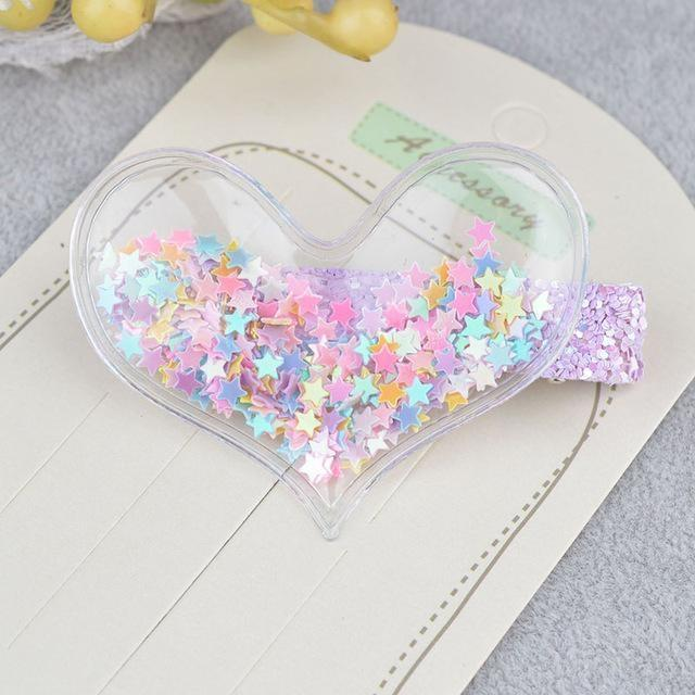 Glitter Confetti Clippies - Heart Beads Rainbow - hair clips