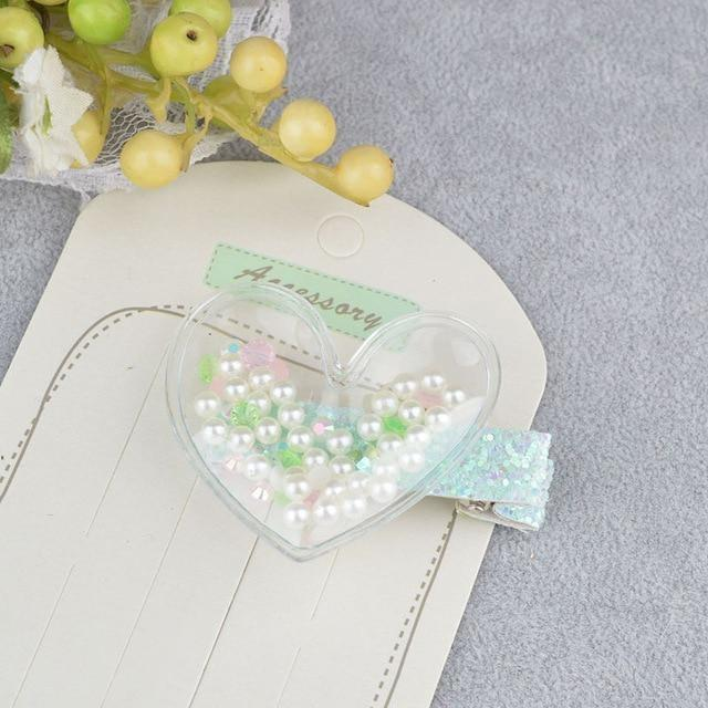 Glitter Confetti Clippies - Heart Beads White - hair clips