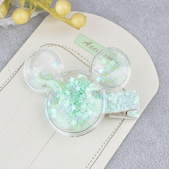 Glitter Confetti Clippies - Mouse Green - hair clips