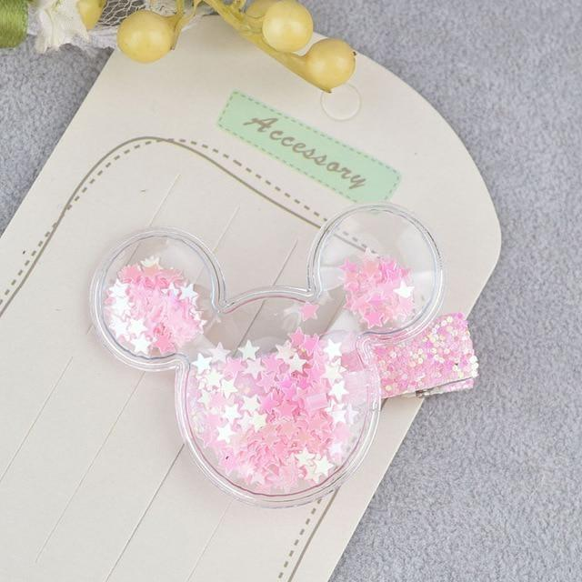 Glitter Confetti Clippies - Mouse Pink - hair clips