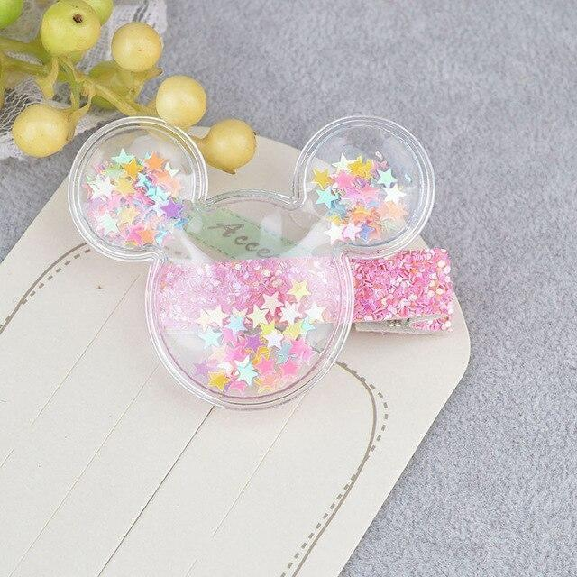 Glitter Confetti Clippies - Mouse Rainbow - hair clips