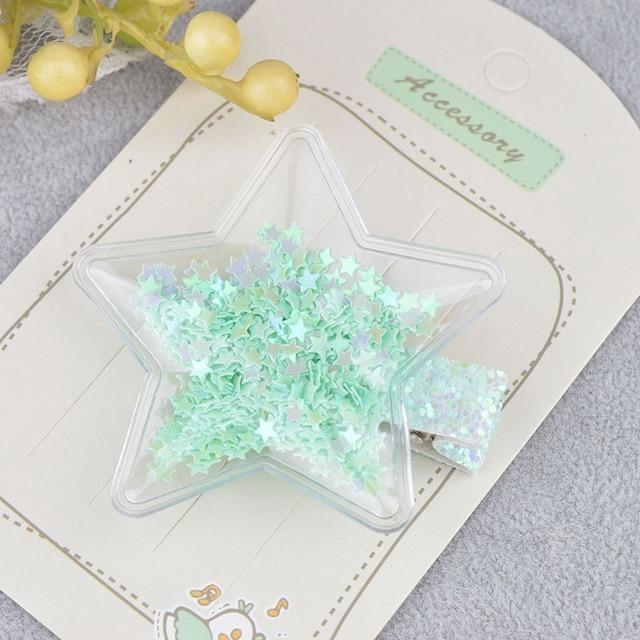 Glitter Confetti Clippies - Star Green - hair clips