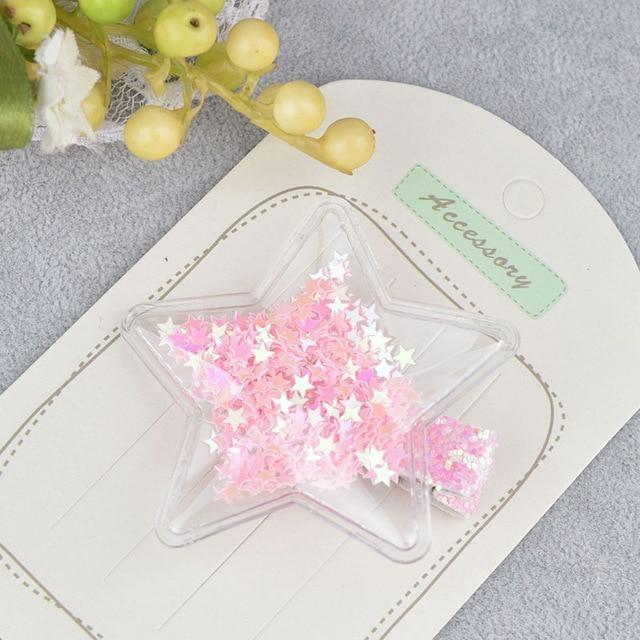 Glitter Confetti Clippies - Star Pink - hair clips