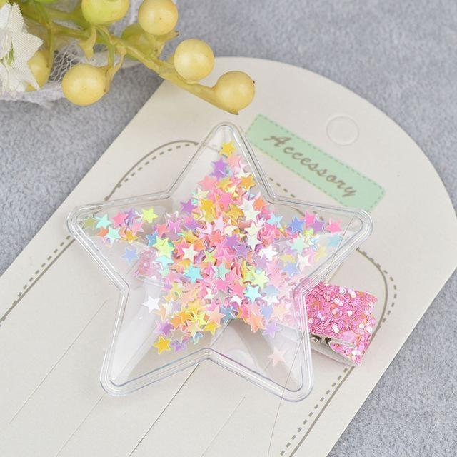 Glitter Confetti Clippies - Star Rainbow - hair clips