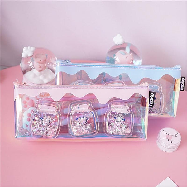 Glitter Jar Stationary Bag - pencil case