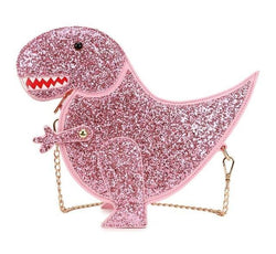 Pink Glitter T-Rex Dinosaur 3D Handbag Purse Satchel Bag Shimmer Kawaii Fashion