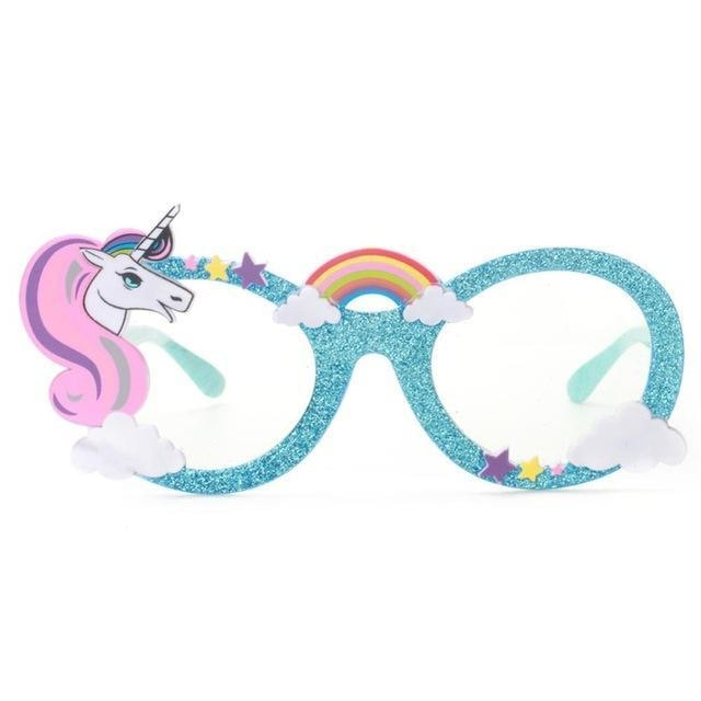 Glitter Unicorn Shades - Blue Clear Lenses - Glasses
