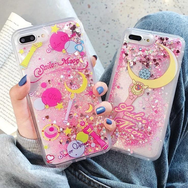 Pink Glitter Sailor Moon Wand iPhone Case Apple Kawaii Cute