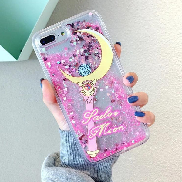 Pink Glitter Sailor Moon Wand iPhone Case Apple Kawaii Magical Girl