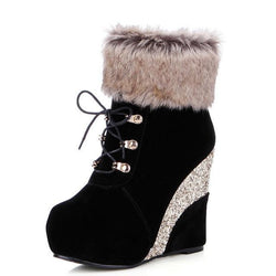 Glitter Wedge Booties - Black / 8.5 - Shoes