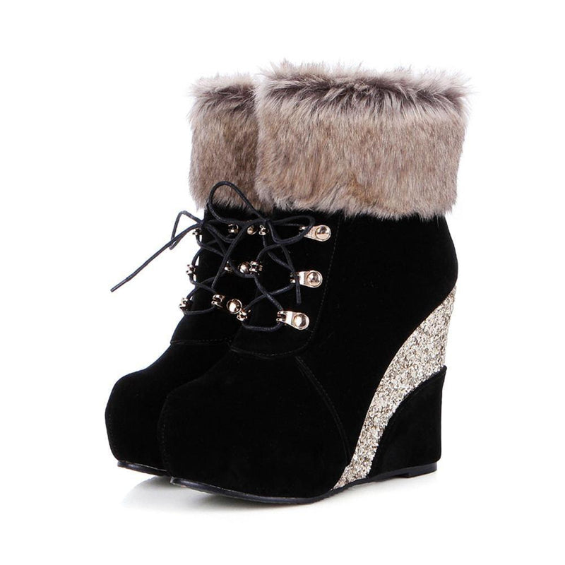 Glitter Wedge Booties - Shoes