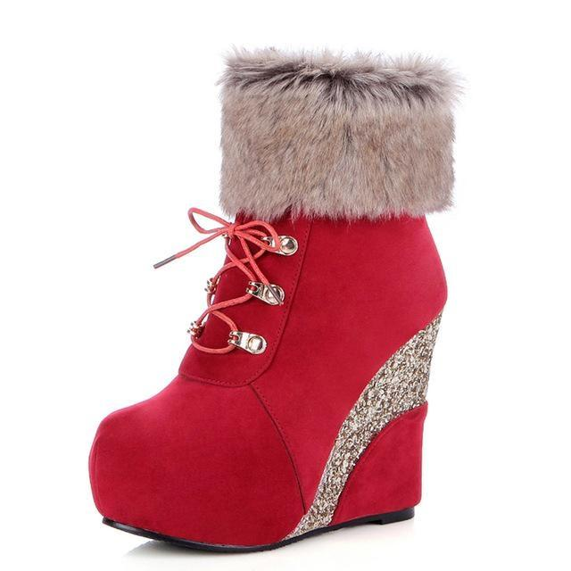 Glitter Wedge Booties - Red / 4 - Shoes