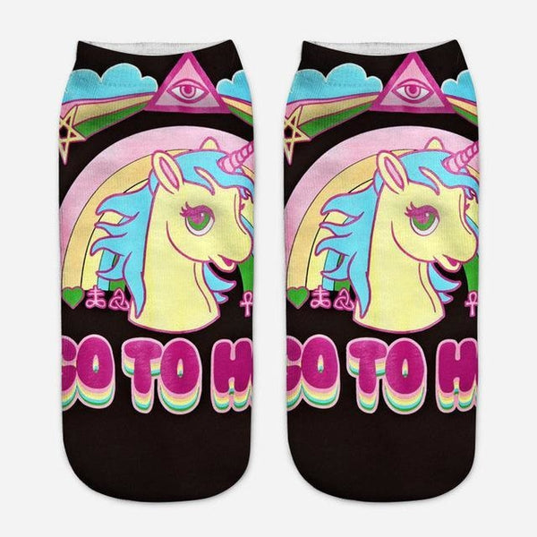 Magical unicorn kawaii socks go to hell my little pony Pastel goth
