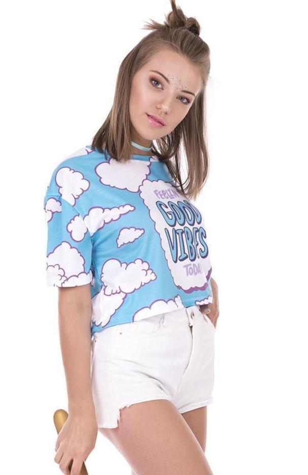 Feeling Good Vibes Today Blue CLoud Crop Top Belly Shirt Cropped Tee