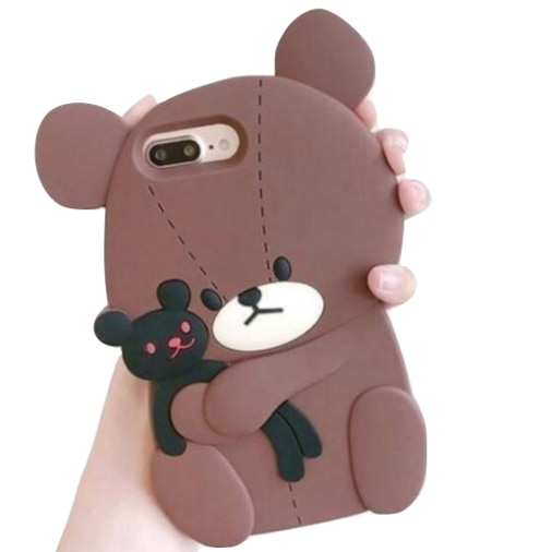 brown creepy cute teddy bear iphone case 3d soft rubber shockproof protection kawaii innocent young youthful little space ddlg phone cases by kawaii babe