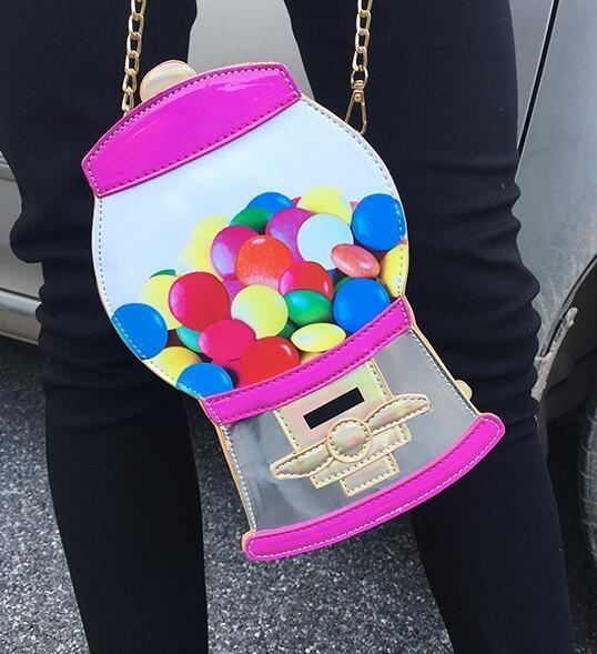 Holographic Rainbow Gumball Candy Machine Handbag Purse Bag Kawaii Cute