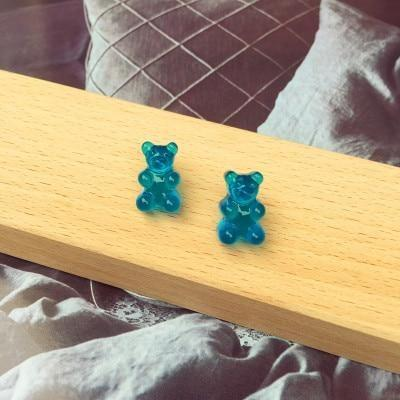 Blue Kawaii Gummy Bear Candy Stud Earrings Cute Jelly Resin