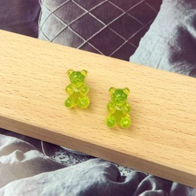 Green Kawaii Gummy Bear Candy Stud Earrings Cute Jelly Resin