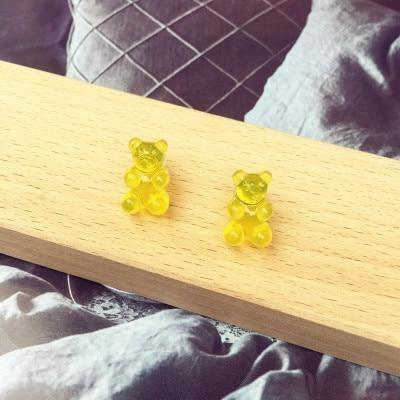 Yellow Kawaii Gummy Bear Candy Stud Earrings Cute Jelly Resin