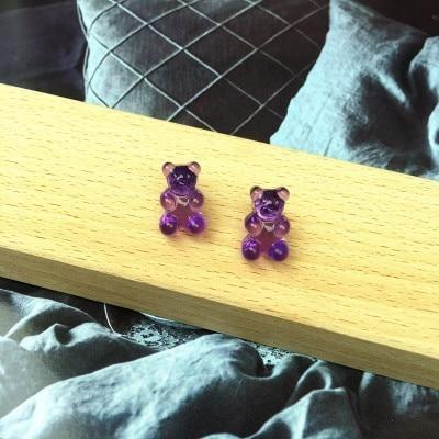Purple Kawaii Gummy Bear Candy Stud Earrings Cute Jelly Resin