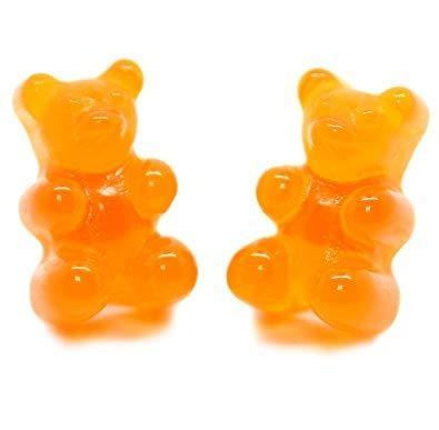 Orange Kawaii Gummy Bear Candy Stud Earrings Cute Jelly Resin