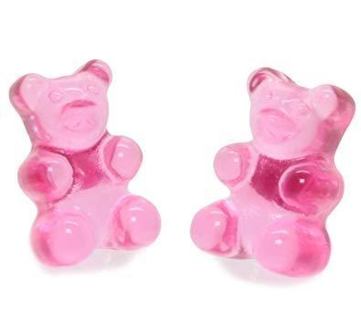 Pink Kawaii Gummy Bear Candy Stud Earrings Cute Jelly Resin