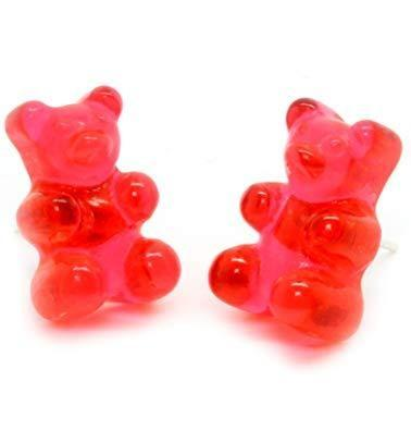 Red Kawaii Gummy Bear Candy Stud Earrings Cute Jelly Resin