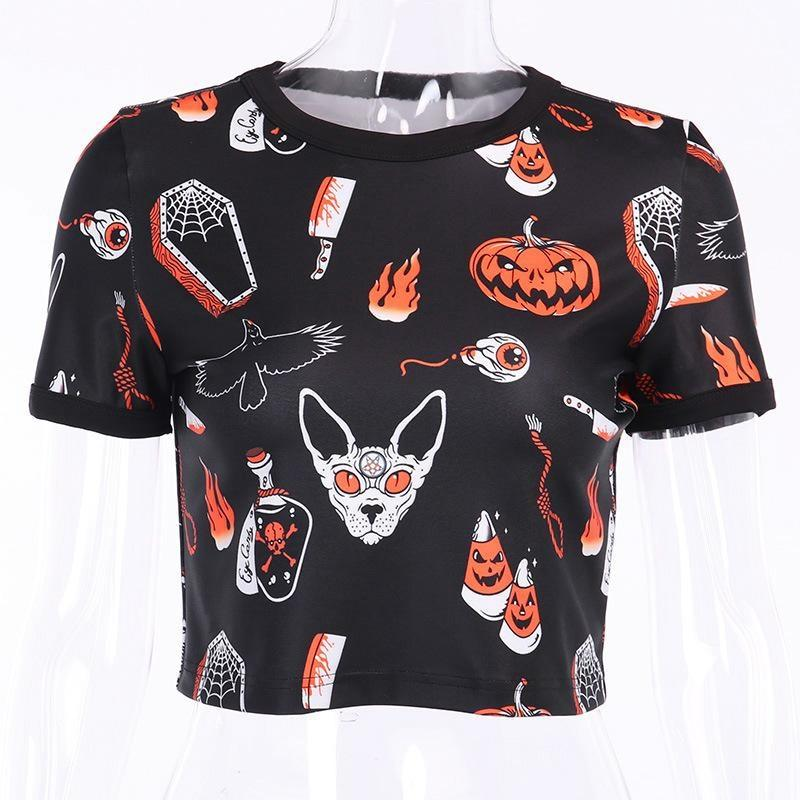 Hallows Eve Crop Top - cat, crop shirt, tee, top, tops