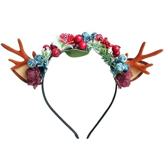 Handmade Reindeer Antlers - Red & Blue Berries - headband