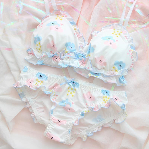 Happy Clouds Lingerie Set - L (No bigger than C cup) - underwear