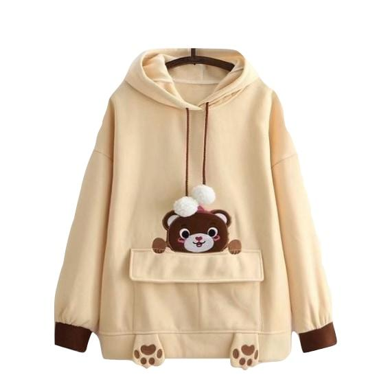 Brown Baby Teddy Bear Hoodie Sweater Hooded Sweatshirt Kawaii Mori Girl Fashion