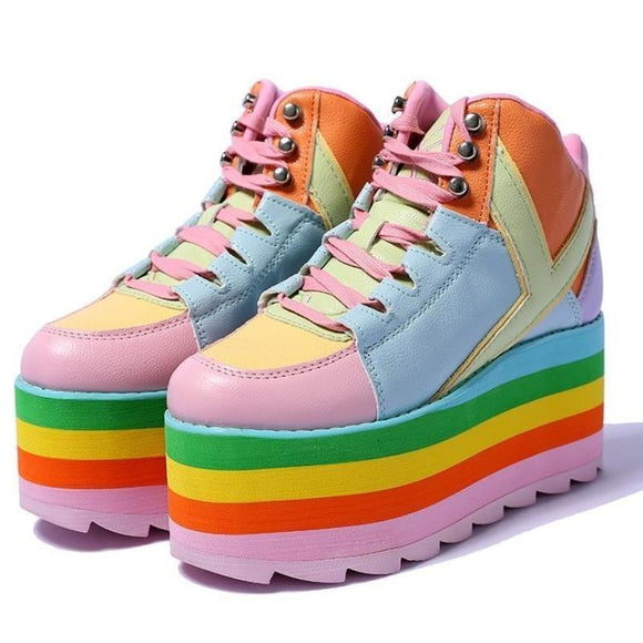 Harajuku Pastel Rainbow Sneakers Shoes Kawaii Japan Street Fashion Lace Up Wedge Platforms