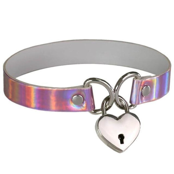 Sexy Holographic Shiny Choker Necklace BDSM Bondage Gag Heart Locket & Key