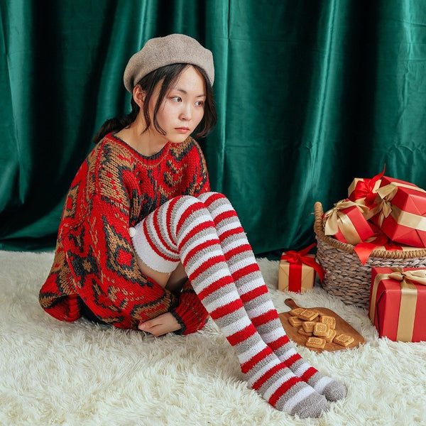 Holiday Bear Thigh Highs - socks