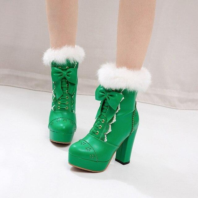 Holiday Lolita Booties - Green / 12 - boots