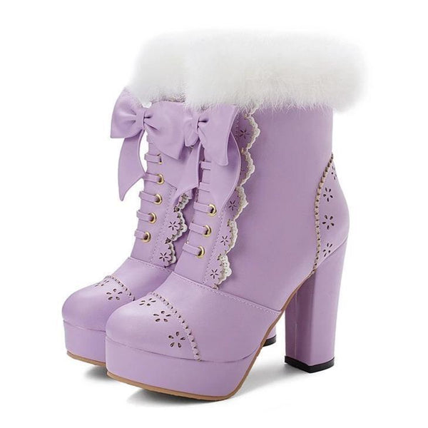 Holiday Lolita Booties - Purple / 12 - boots