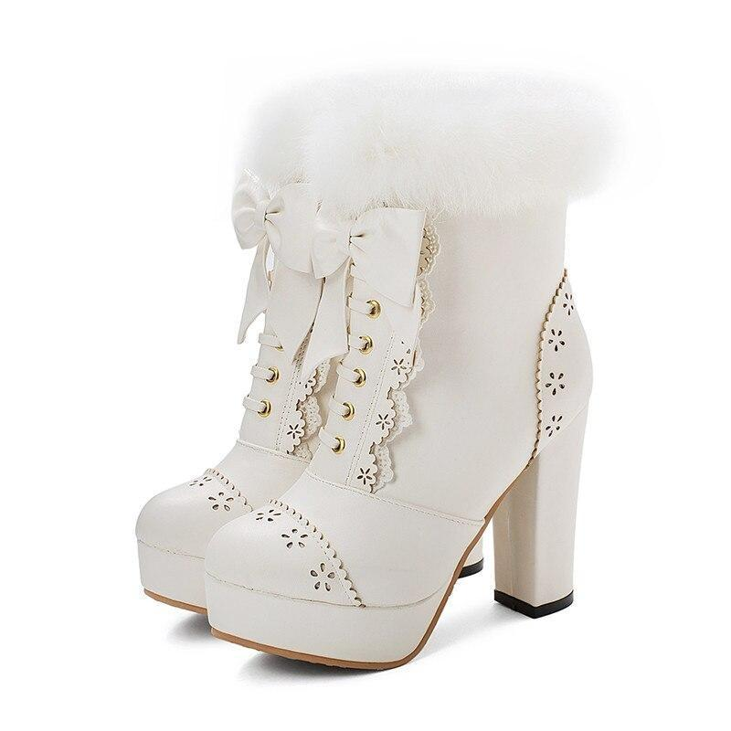 Holiday Lolita Booties - White / 12.5 - boots