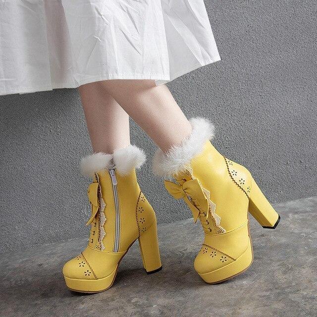 Holiday Lolita Booties - Yellow / 12.5 - boots