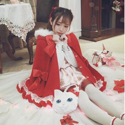 Holiday Lolita Poncho Coat - Red / S - jacket